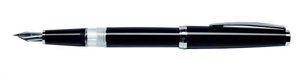 Cleo Classic Kolben-Füllhalter B-Feder Palladium schwarz 24002