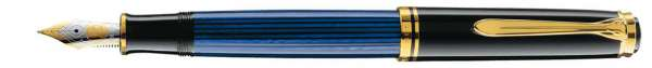 Pelikan Füllhalter Souverän M800 Schwarz-Blau - Goldfeder 18kt-EF 986612