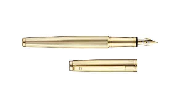 Waldmann 4753 Füllhalter Tuscany, Goldfeder F, Linien-Design goldplattiert