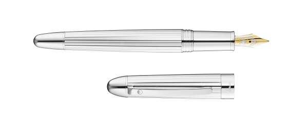 Waldmann 3101 Précieux Füllfederhalter, silber / Linien-design Goldfeder 18K F