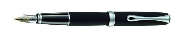 Diplomat Füllhalter Excellence A2 Lapis schwarz matt chrom, 14kt Goldfeder EF, D40204011