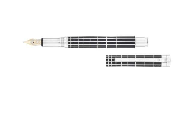 Waldmann 2274 Xetra Füllfederhalter, Xetra-Design auf Lack schwarz Goldfeder 18K B