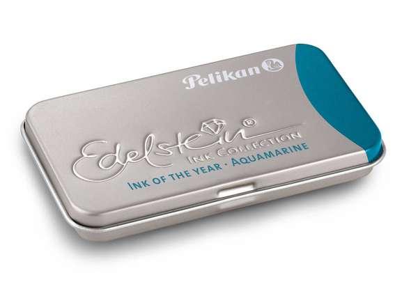 Pelikan Tintenpatrone Aquamarine GTP/6 Edelstein im Metalletui, 300100