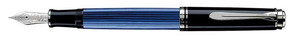 Pelikan Füllhalter Souverän M805 - Schwarz-Blau-Silber Goldfeder 18kt-EF 804141