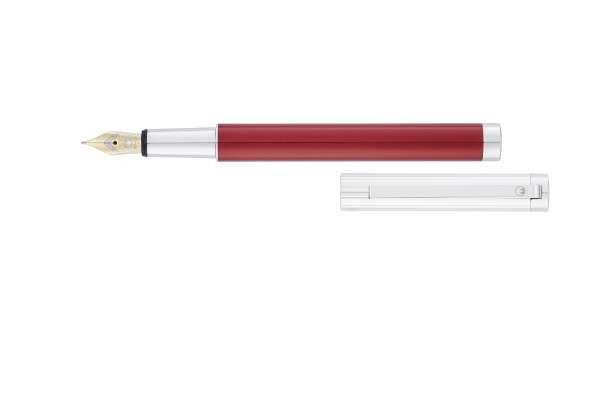 """Waldmann 2332 Cosmo Füllfederhalter, Linien-Design silber / Lack Metallic """"Red-Fire"""" Goldfeder 18K F"""