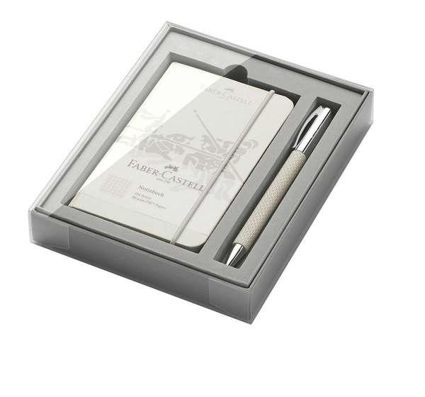 """Faber-Castell Geschenk-Set Kugelschreiber AMBITION OpArt """"White Sand"""" mit Notizbuch, 149614"""