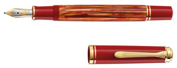 Pelikan Füllhalter Souverän M600 - Schildpatt-Rot, Goldfeder 14kt-EF 815734 - Special Edition