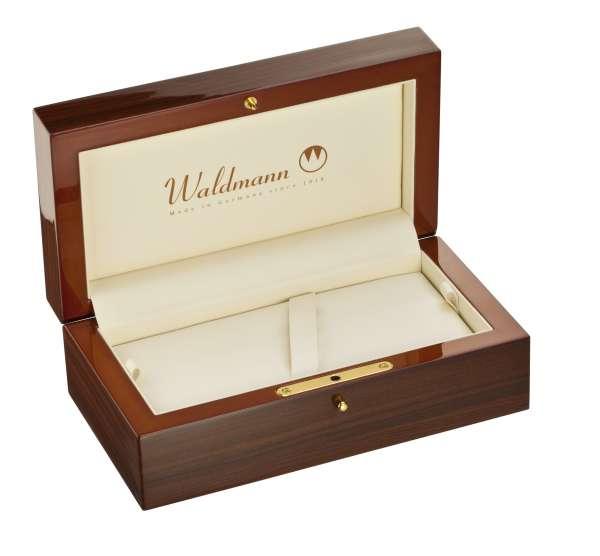 Waldmann 0138 Luxuriöses Holzetui, aus hochglanzpoliertem Echtholz, braun marmoriert