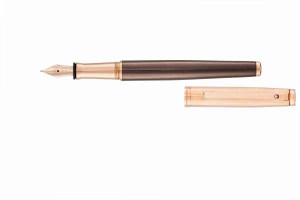 Waldmann 0052 Tuscany Füllfederhalter, Linien-Design Rosegold / PVD schoko Stahlfeder M