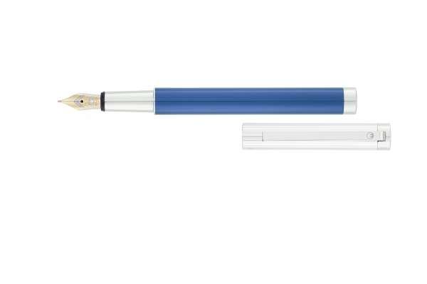 """Waldmann 2340 Cosmo Füllfederhalter, Linien-Design silber / Lack Metallic """"Ice-Blue"""" Goldfeder 18K B"""