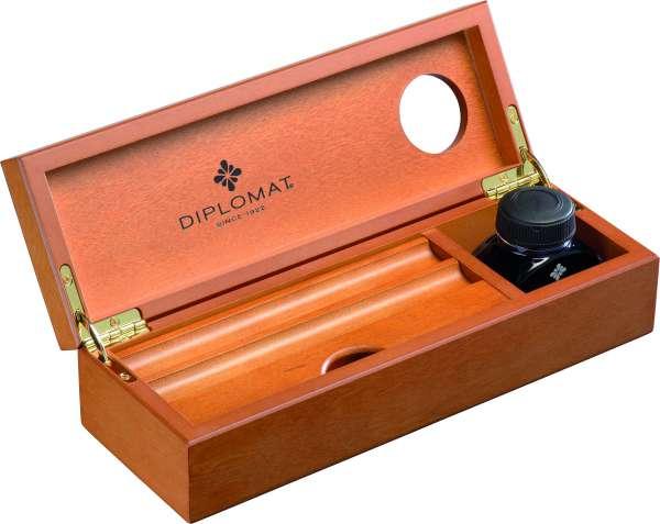 Diplomat D10276954 Edelholzkassette Kirsche mit Tintenglas