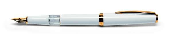 Cleo Classic Kolben-Füllhalter M-Goldfeder 14Kt Gold weiß 24121