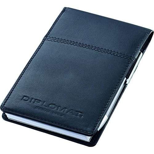 Diplomat D20000711 Notizblock, echt Leder, schwarz