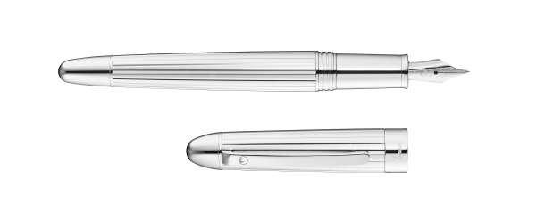 Waldmann 3099 Précieux Füllfederhalter, silber / Linien-design Stahlfeder M