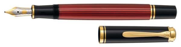 Pelikan Füllhalter Souverän M400 Schwarz-Rot - Goldfeder 14kt-B 923037
