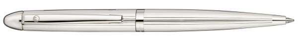 Waldmann 0081 Pocket Drehkugelschreiber, Linien-Design silber, mit Gas-Druck-Mine