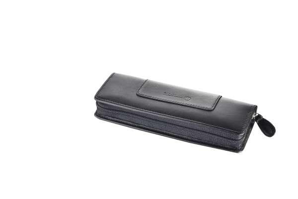 Waldmann 0137W Lederetui für zwei Schreibgeräte mit Reißverschluss