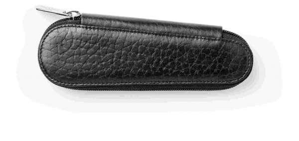Faber-Castell Lederetui Design 2er schwarz genarbt Reißverschluß, 189302