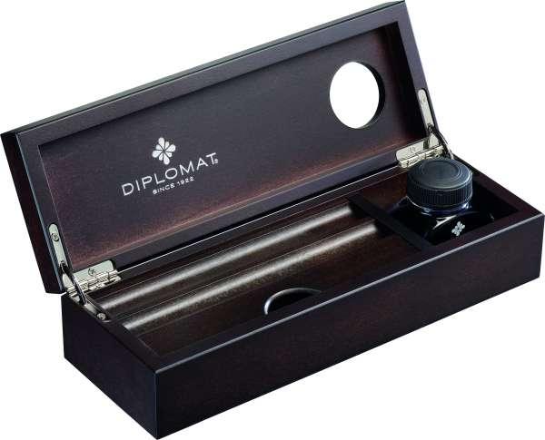 Diplomat D20000477 Edelholzkassette Wenge mit Tintenglas